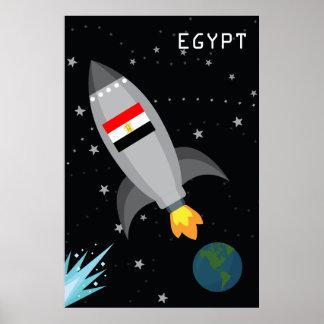 Egypt Flag Rocket Ship Poster