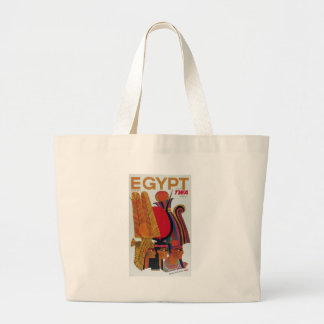 Egypt Vintage Air Travel Ancient Culture Tourism Large Tote Bag