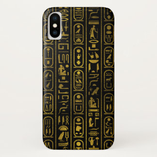Egyptian Ancient Gold hieroglyphs on black iPhone X Case