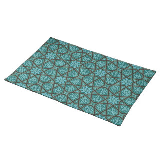 Egyptian arabic geometric in vintage blue and grey placemat