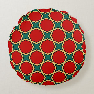 Egyptian arabic geometric pattern in red and green round cushion