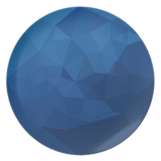 Egyptian Blue Abstract Low Polygon Background Dinner Plate