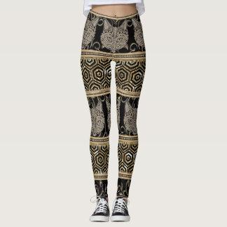 Egyptian Bohemian Tribal Cat & Gold designs Leggings