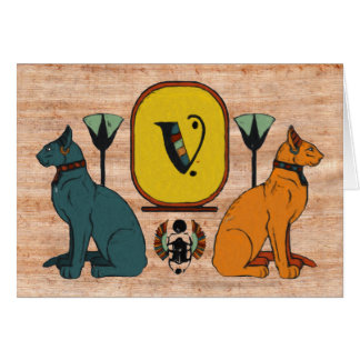 Egyptian Cat Cartouche Monogram Greeting Card: V Card