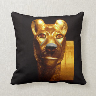Egyptian Cat Statue Ancient Egypt Gold Back Pillow