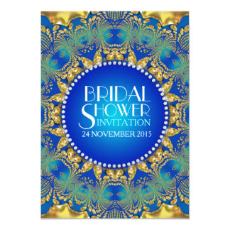 Egyptian Deco Blue+Gold Sun Bridal Shower Invites