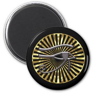 Egyptian Eye of Horus Gold and Black 6 Cm Round Magnet