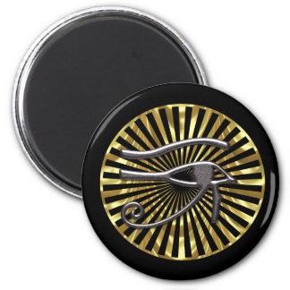 Egyptian Eye of Horus Gold and Black 6 Cm Round Magnet