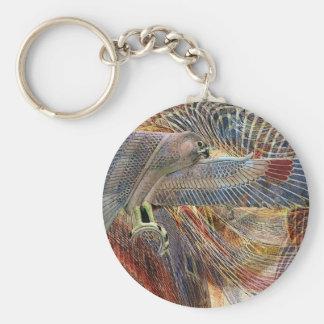 Egyptian Falcon Basic Round Button Key Ring