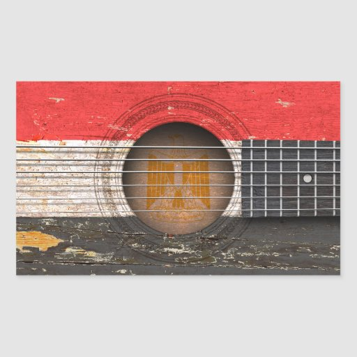 Egyptian Flag on Old Acoustic Guitar Rectangle Sticker