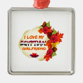 Egyptian Girlfriend designs Square Metal Christmas Ornament