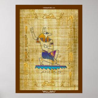 "Egyptian God ""ANUBIS on Papyrus"" Art Poster"