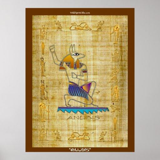 Egyptian God Quot Anubis On Papyrus Quot Art Poster Zazzle Com Au