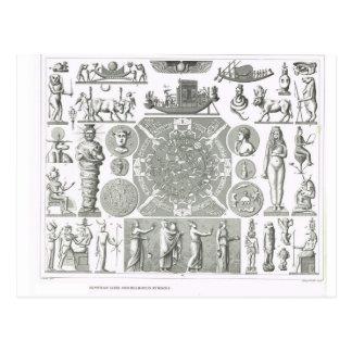 Egyptian gods and religious symbols postcard
