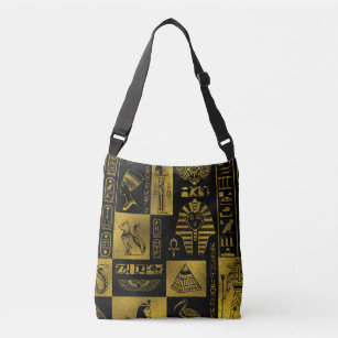 Egyptian Gold hieroglyphs and symbols collage Crossbody Bag