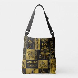 Egyptian  Gold hieroglyphs and symbols collage Crossbody Bag