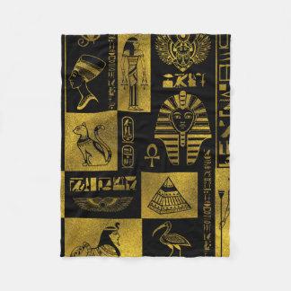 Egyptian  Gold hieroglyphs and symbols collage Fleece Blanket