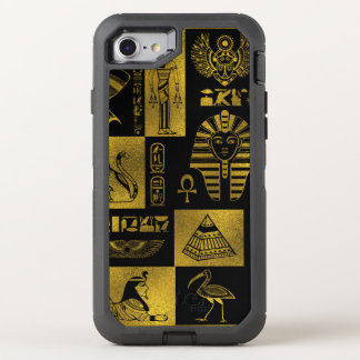 Egyptian  Gold hieroglyphs and symbols collage OtterBox Defender iPhone 8/7 Case
