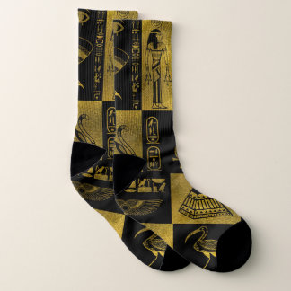 Egyptian  Gold hieroglyphs and symbols collage Socks