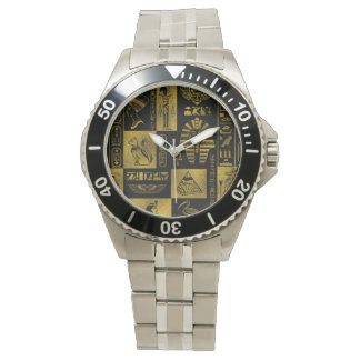 Egyptian  Gold hieroglyphs and symbols collage Watch