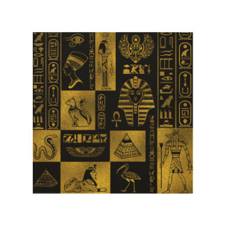 Egyptian  Gold hieroglyphs and symbols collage Wood Wall Art