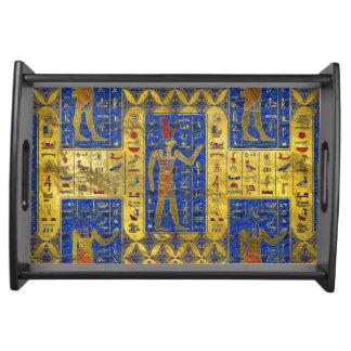 Egyptian  Gold  symbols on Lapis Lazuli Serving Tray