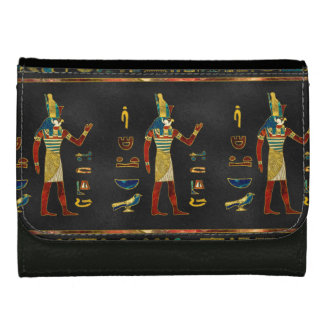 Egyptian  Gold, Teal and Red  glass pattern Leather Wallet For Women