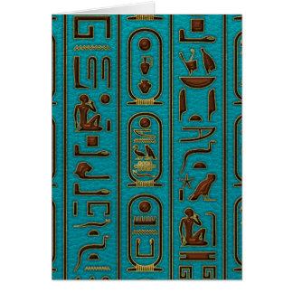 Egyptian Golden Leather hieroglyphs  on teal Card