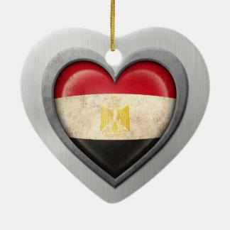 Egyptian Heart Flag Stainless Steel Effect Ceramic Heart Decoration