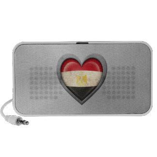 Egyptian Heart Flag Stainless Steel Effect Portable Speakers