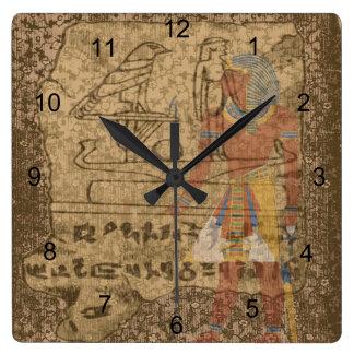 Egyptian Hieroglyphic Square Wall Clock