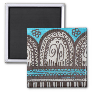 Egyptian Inspired Turquoise and Silver Arches Square Magnet