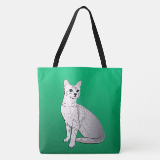 Egyptian Mau Cat on Jade Green Tote Bag
