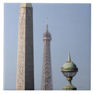 Egyptian Obelisk and lamp in Place de la Large Square Tile