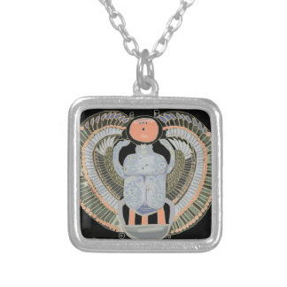 Egyptian Pastel Coloured Scarab Beetle Silver Plated Necklace