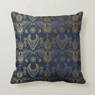 Egyptian Peacock Gold & Midnight Blue Throw Pillow
