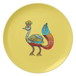 Egyptian Peacock Melamine Plate