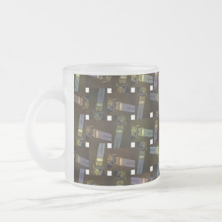 Egyptian Princess Abstract Cross Weave Pattern, Frosted Glass Coffee Mug