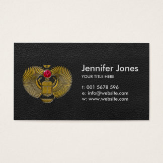Egyptian Scarab Beetle Gold and Ruby Stone Business Card