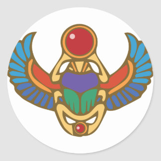 Egyptian Scarab Classic Round Sticker