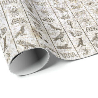 Egyptian Script Pearly Gold Foxier White Royal Wrapping Paper