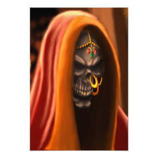 Egyptian Skull Bride Art with Nose Ring and Beads Photo Art
