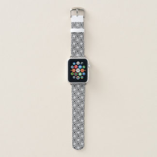 Egyptian tile pattern, black and white apple watch band