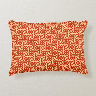 Egyptian tile pattern, coral orange decorative cushion