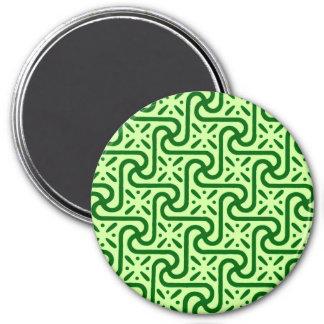 Egyptian tile pattern emerald and lime green fridge magnet