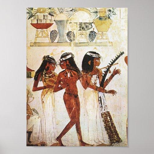 Egyptian Women Musicians Postcard Poster