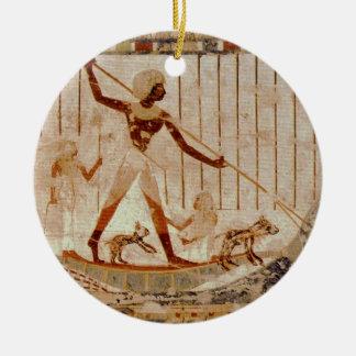 Egytian Art - Man Fishing Christmas Ornament