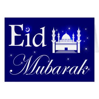 Eid al-Adha, Eid Mubarak, Mosque and Stars in Blue Card