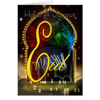 Eid Card, Happy And Joyous Eid, Fireworks Greeting Card