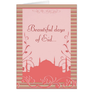 Eid greeting with mosque & flowers - customizable card